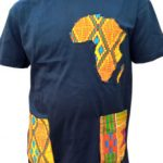 Black African Design T-Shirt - African map with side pockets