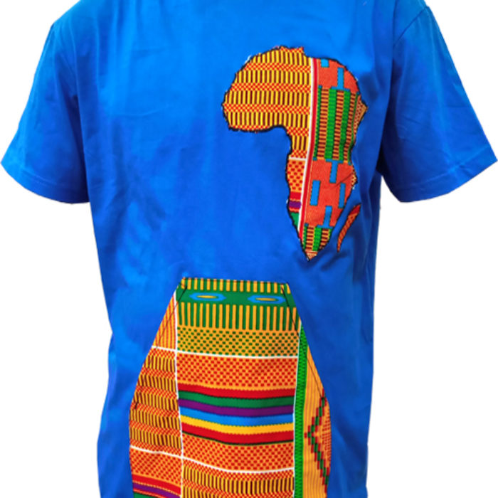 Blue African Design T-Shirt - African map with pockets